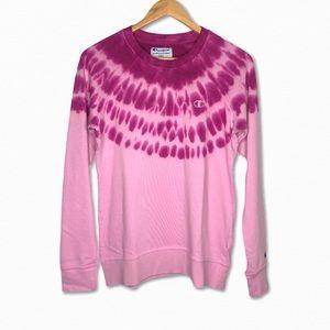 Champion Acid Wash Tie Dye Crew Sweater Pink NEW
